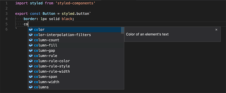Styled component IntelliSense from the typescript-styled plugin