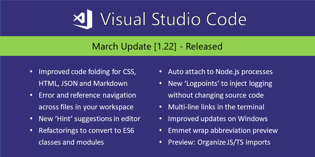 Visual Studio Code March 2018