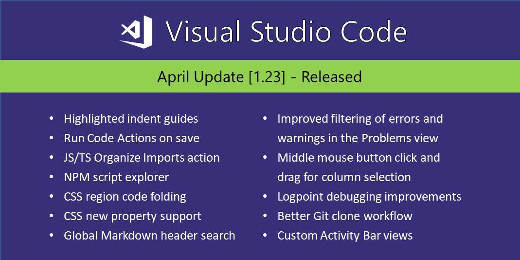 Visual Studio Code April 2018