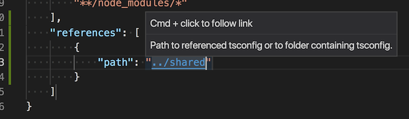 Cmd click on the path to open the referenced project's tsconfig