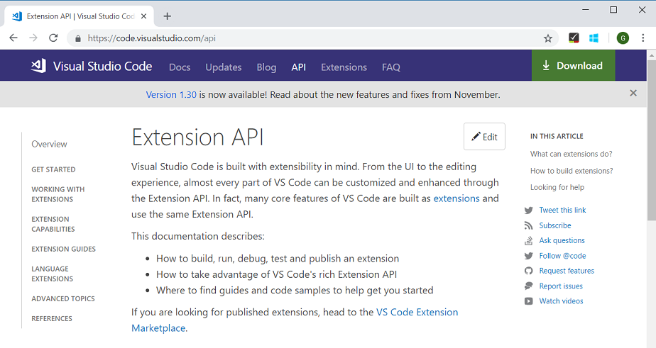 API TOC on VS Code website