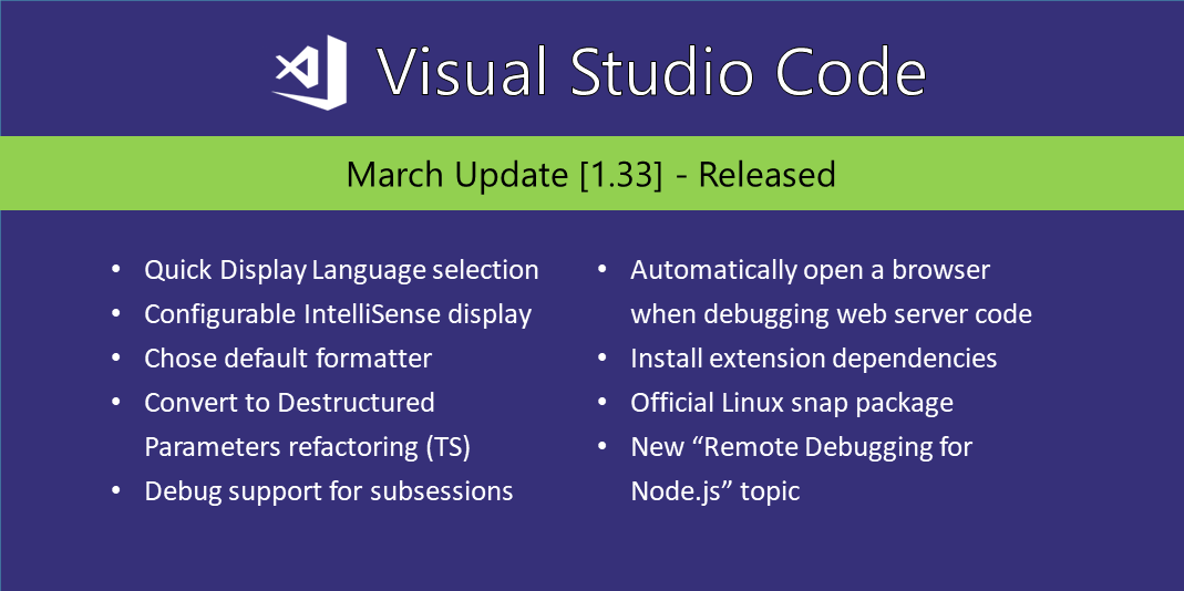 Visual Studio Code March 2019
