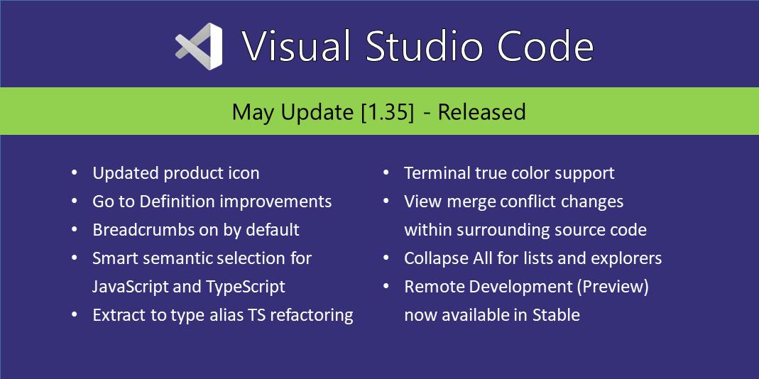 Visual Studio Code May 2019