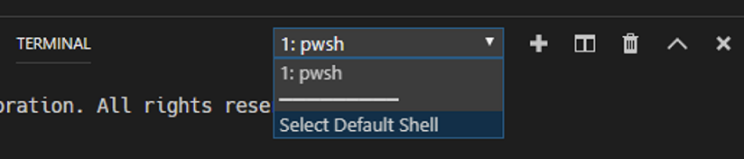 Integrated Terminal shell selector