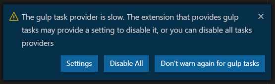 Slow task provider warning