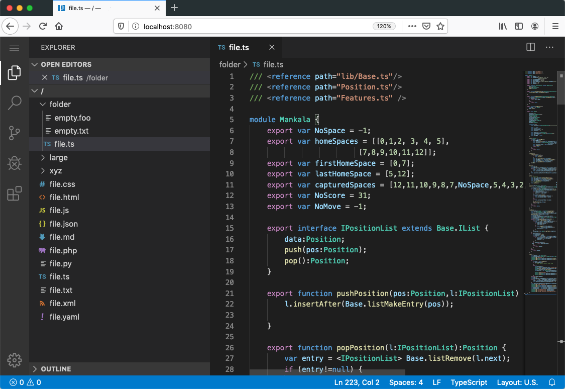 VS Code running in a browser