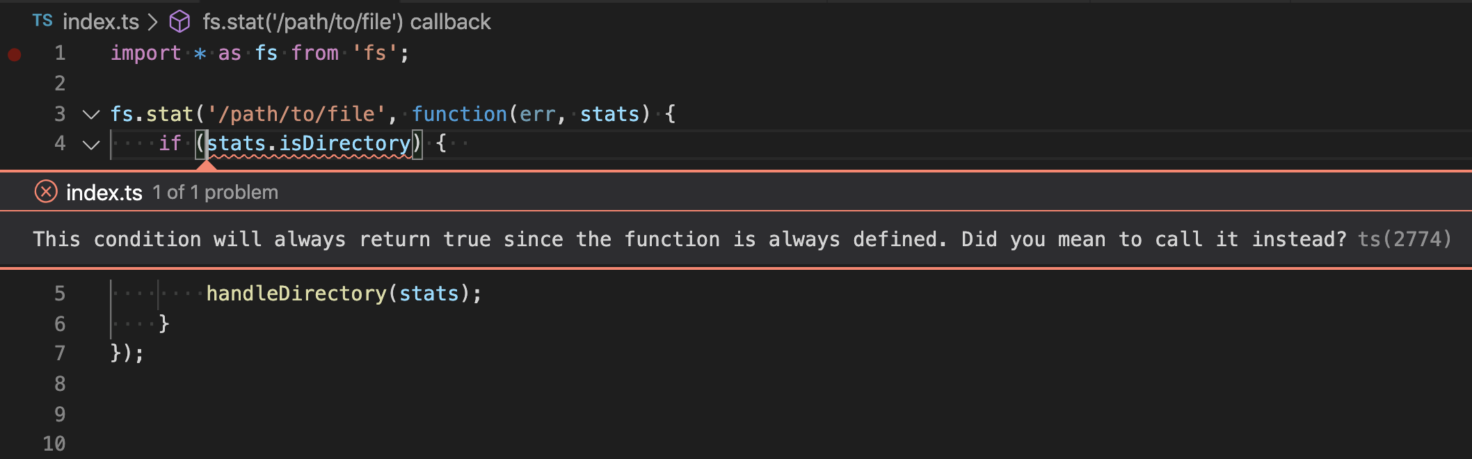 VS Code can alert when you forget to call a function