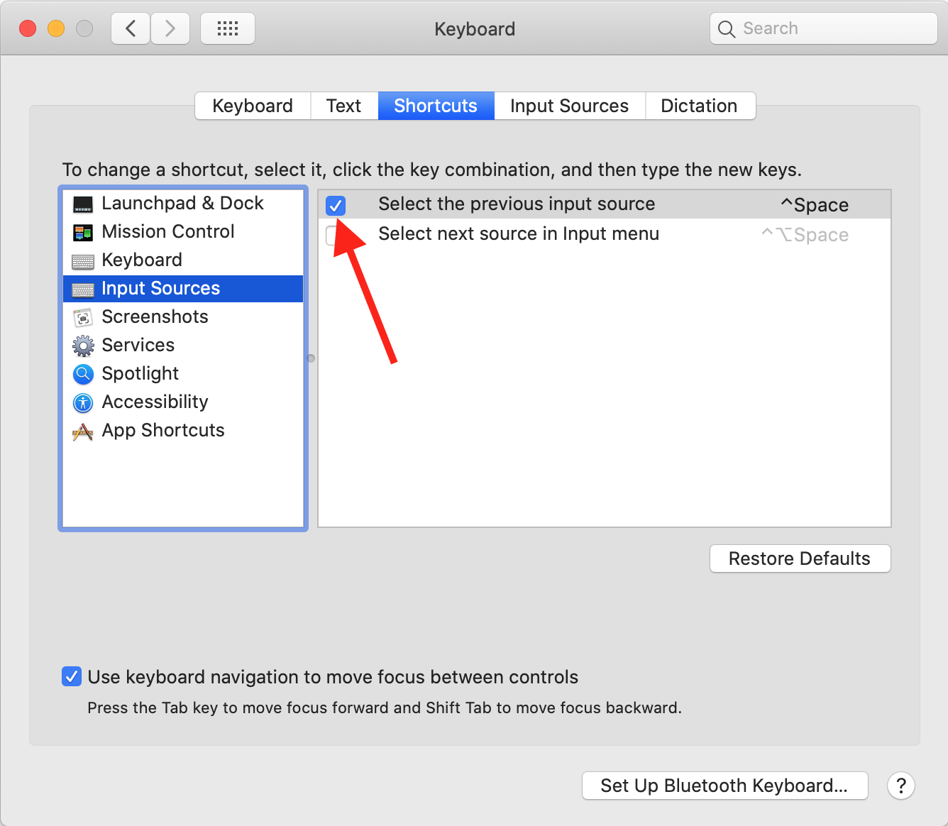 macOS Keyboard Shortcuts Input Sources option