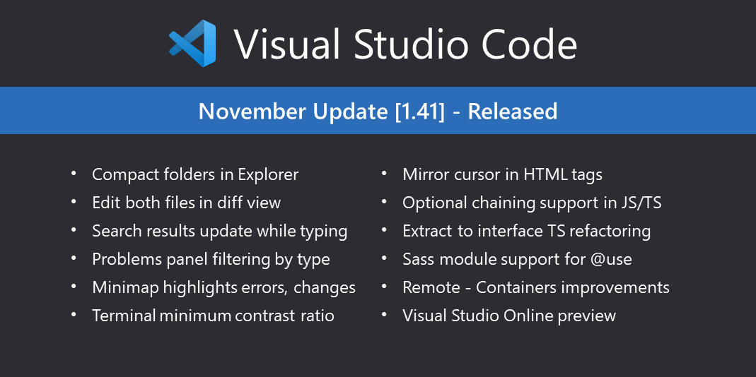 Visual Studio Code November 2019