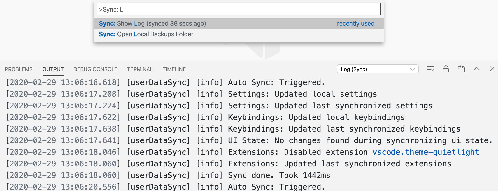 Settings Sync log