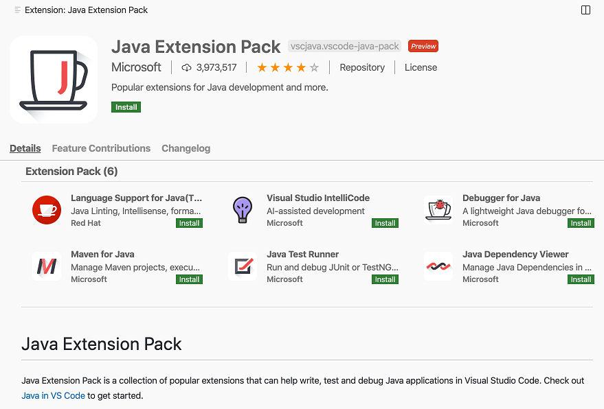 Extension Pack details page showing bundled extensions