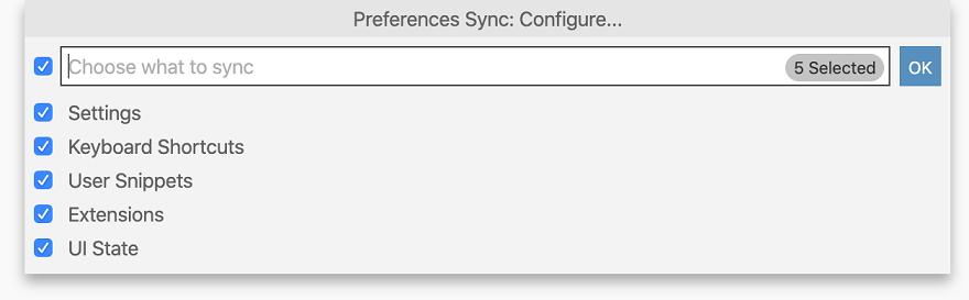 Settings Sync configuration