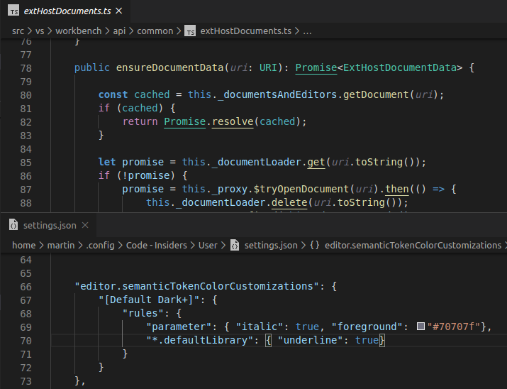 Semantic token color customization