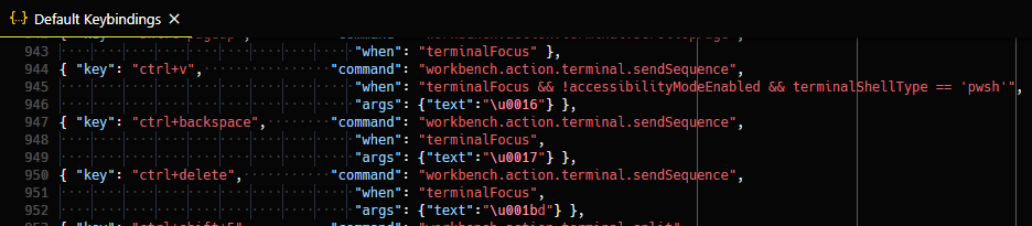 Terminal sendSequence keybindings JSON