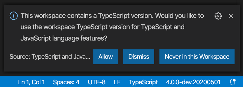 Prompt shown when opening a workspace with local TypeScript version