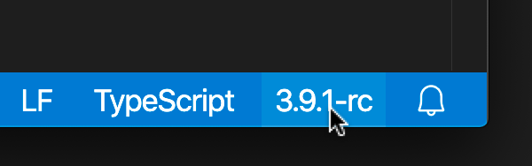 TypeScript version status bar entry