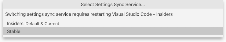 Settings Sync Insiders switch