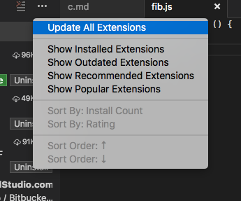 Extension update all