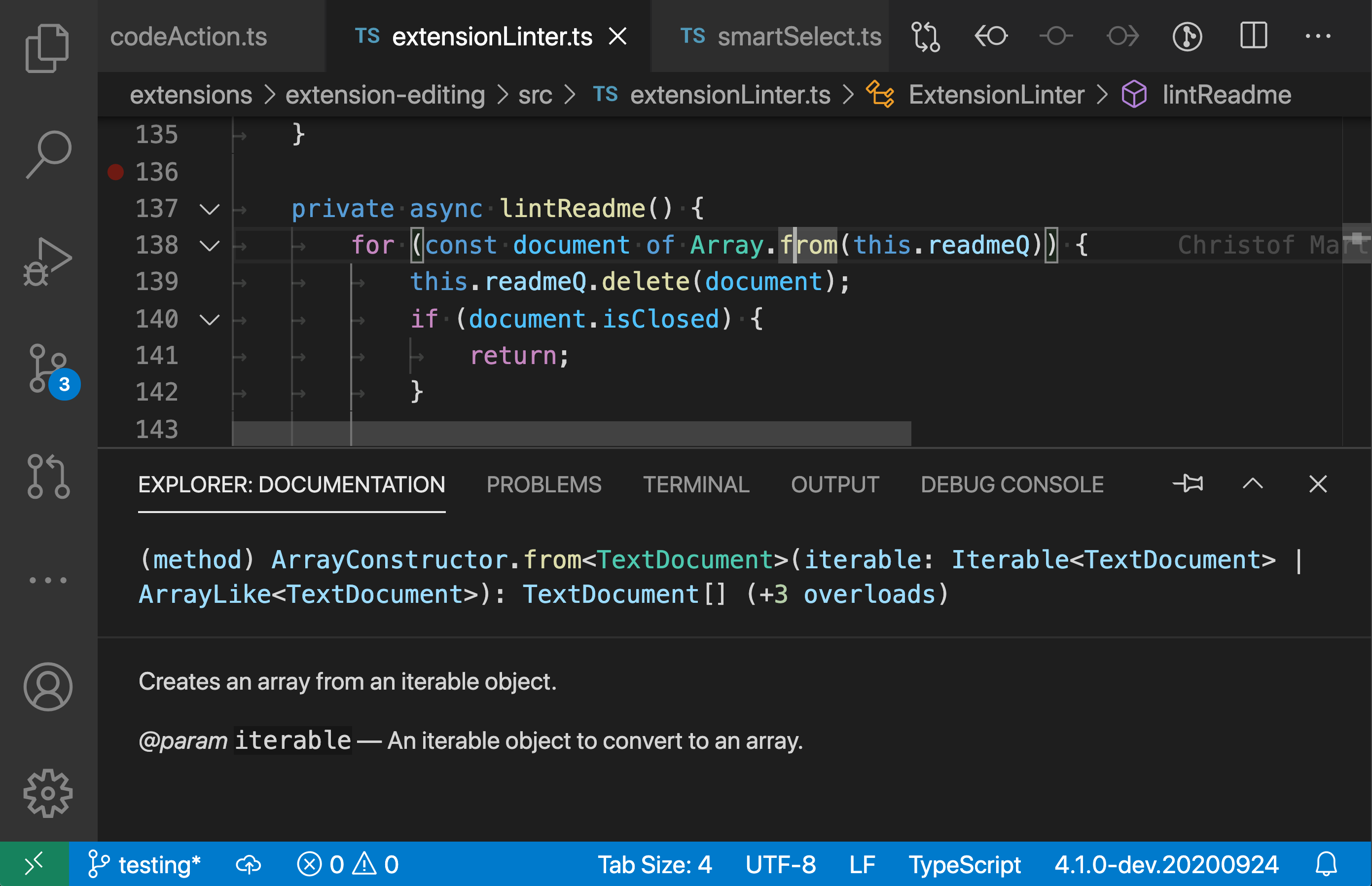 Showing the docs for Array.from in the panel