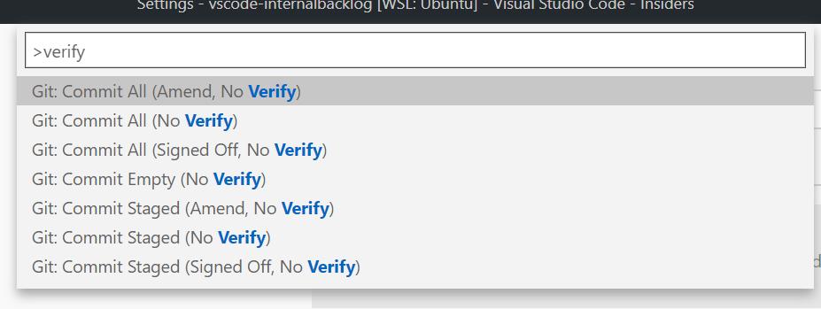 git --no-verify in command palette
