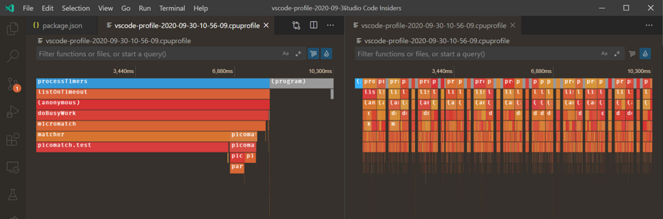 Screenshot of an editor showing the two flame graphs described above