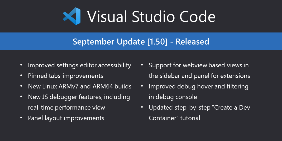 Visual Studio Code September 2020