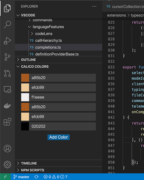 The 'calico colors' webview view sample extension in the side bar