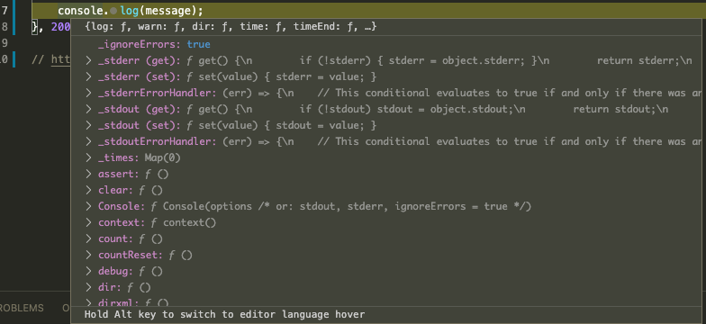 "Debug hover showing the message ""Hold Alt key to switch to editor language hover"""