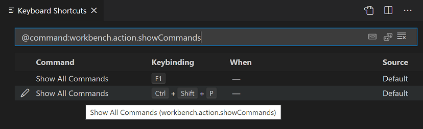 Keyboard Shortcut editor command ID filtering
