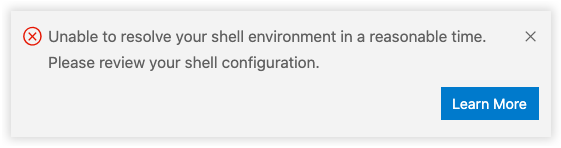 Shell environment error after being unable to resolve in a reasonable time