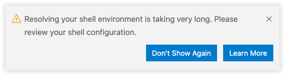 Shell environment warning if it takes longer than 3 seconds