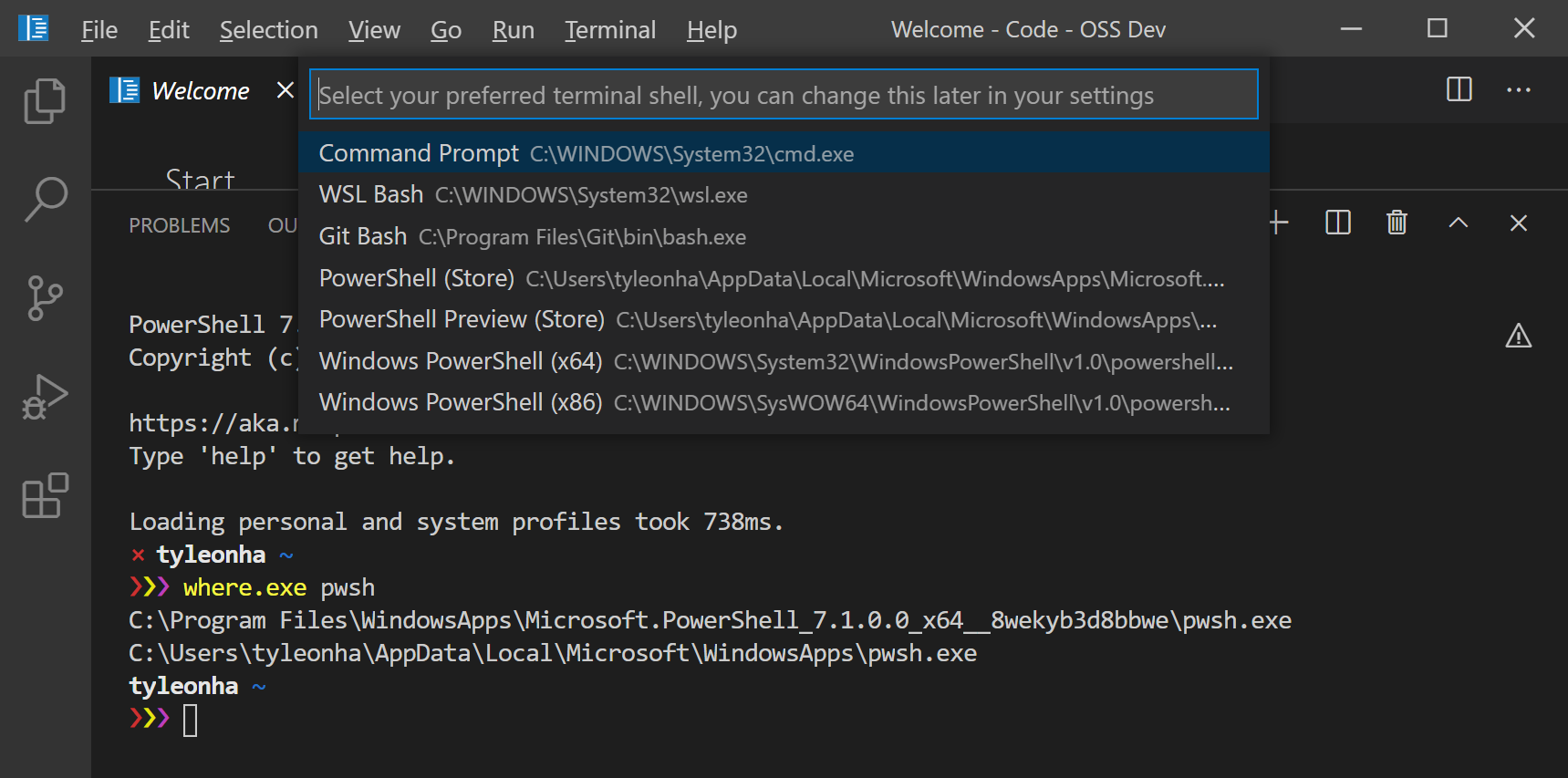 Select Default Shell showing possible PowerShell options