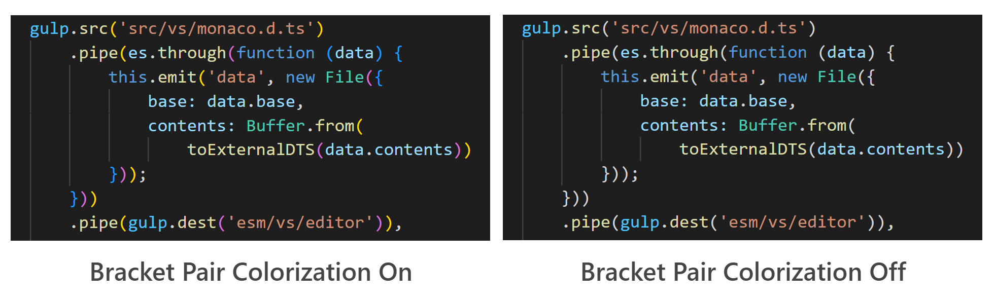 Side by side comparison with bracket pair colorization on and off