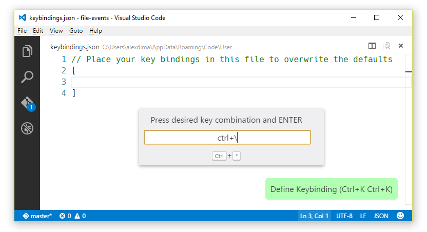key binding widget