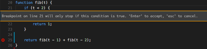 conditional breakpoints